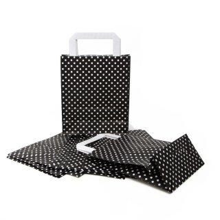Papiertüte mit Henkel und Boden 18 x 22 x 8 cm schwarz mit weißen Punkten für Weihnachten Geburtstag