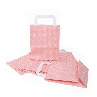 Tüte mit Boden und Henkel 18 x 22 x 8 cm rosa mit weißen Punkten aus Papier für Werbegeschenke Präsente