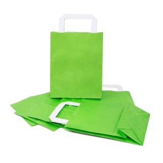 Grüne Papiertüten mit Henkel und Boden 18 x 22 x 8 cm - Geschenkverpackung hellgrün