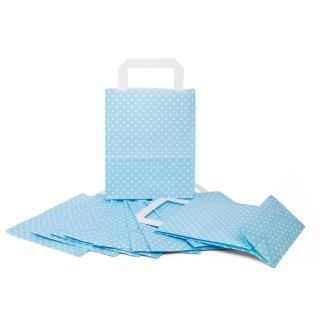 Hellblaue Papiertüte mit weißen Punkten und Boden 18 x 22 x 8 cm für Hochzeit & Feste