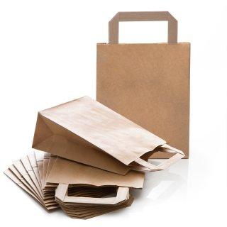 Tasche mit Henkel & Boden 18 x 22 x 8 cm aus Kraftpapier braun als Verpackung