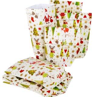Weihnachtstüte rot grün gelb bunt 16,5 x 26 x 6,5 cm als Verpackung Geschenkbeutel