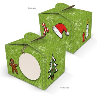 Kleine Weihnachtsschachtel 8 x 6,5 x 5,5 cm grün zum Beschriften & Geschenke weihnachtlich verpacken