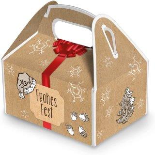 Weihnachtsschachtel FROHES FEST braun rot 9 x 12 x 6 cm mit Tragegriff - weihnachtliche Verpackung