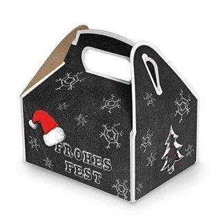 Weihnachtliche Geschenkbox schwarz weiß FROHES FEST Weihnachtsschachtel 9 x 12 x 6 cm