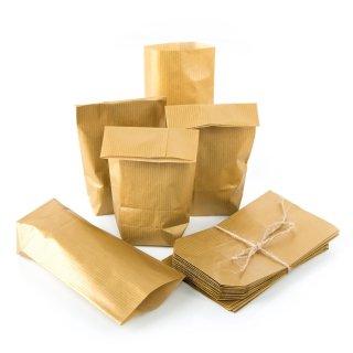 Goldene Kreuzbodenbeutel 9 x 15 x 3,5 cm für Geschenke Mitgebsel Kleinigkeiten