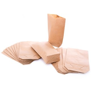 Kraftpapiertüte mit Boden braun 16,5 x 26 x 6,6 cm - Obsttüte Brotzeitbeutel Verpackung 25 Stück