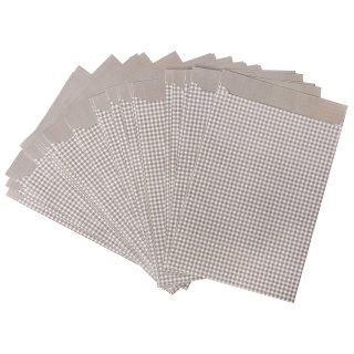 Papierbeutel in 9,5 x 14 cm weiß hellbraun kariert - zur Verpackung von Mitgebseln kleinen Geschenken