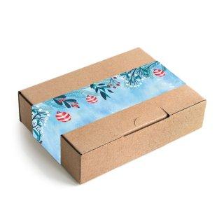 Lange Aufkleber in 5 x 42 cm blau rot mit Kugeln & Tannenzweigen - für Tüten & Geschenkverpackungen