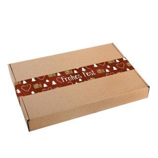 Lange Weihnachtsaufkleber Frohes Fest 5 x 42 cm rot weiß - für Schachteln & Verpackungen