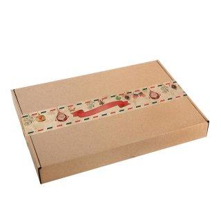 Große Weihnachten Aufkleber - 5 x 42 cm - braun rot im Vintage-Stil - für Großbriefe & Pakete