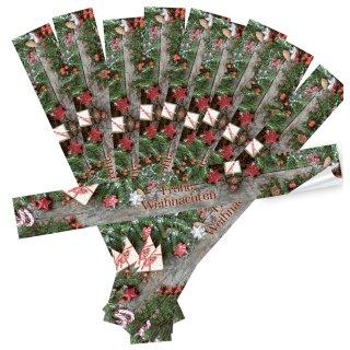 Längliche Banderole Frohe Weihnachten rot grün braun - 5 x 42 cm - für Nikolaus & Weihnachtsgeschenke