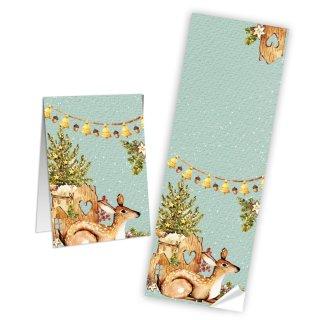 Weihnachtsaufkleber länglich türkis mit Reh - 7,2 x 21 cm - für Tüten & Pakete