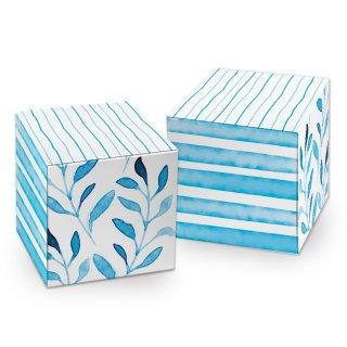 Kleine Geschenkbox in 7 x 7 cm blau weiß maritim - für Hochzeit Kommunion