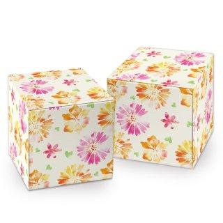 Geschenkschachtel mit Blumenmuster in 7 x 7 cm rosa orange - für kleine Geschenke