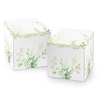 Kleine florale Faltschachtel in 7 x 7 cm weiß grün - für Weihnachten Geburtstage