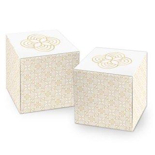 Kleine Würfelbox in 7 x 7 cm beige gold weiß mit Ornamenten - zum Verpacken & Befüllen