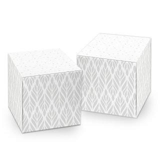 Kleine grau weiße Box in 7 x 7 cm - für Taufe Firmung Firmenfeier