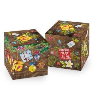 Weihnachtliche Box in 7 x 7 cm braun bunt gold Holzoptik mit bunten Geschenken - Geschenkverpackung