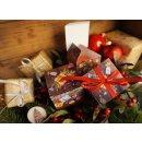 Weihnachtliche Box in 7 x 7 cm braun bunt gold Holzoptik...