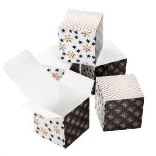 Kleine weihnachtliche Schachtel in 7 x 7 cm schwarz weiß gold - edle Verpackung