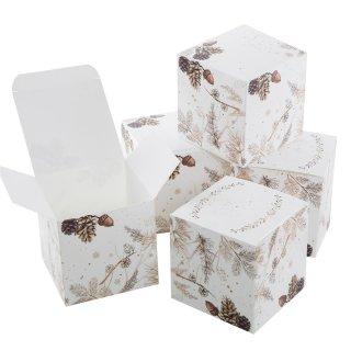 Kleine edle Würfelbox in 10 x 10 cm Zweige Tannenzapfen weiß braun gold - für Werbegeschenke Schmuck