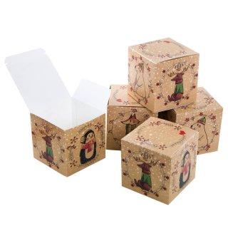 Weihnachtliche kleine Box 10 x 10 cm braun mit bunten Tieren - zum Verpacken & Befüllen