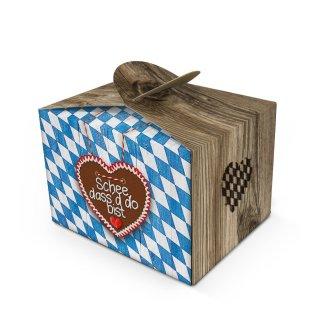 Bayerische Mini Geschenkschachtel Schön dass du da bist 8 x 6,5 x 5,5 cm  blau weiß - rustikale Holzoptik mit Rautenmuster