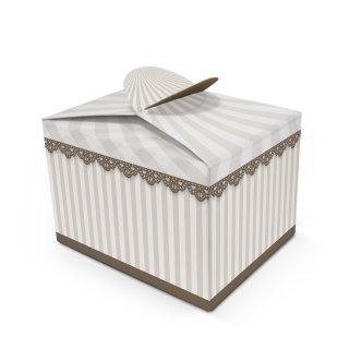 Kleine Geschenkverpackung im Vintage-Stil in 8 x 6,5 x 5,5 cm beige braun gestreift - zu Hochzeit Geburtstag
