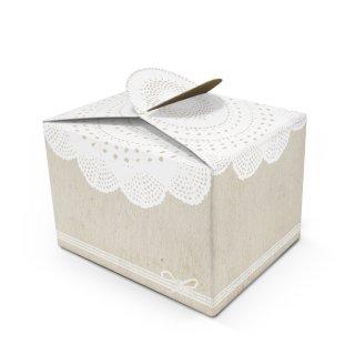 Kleine quadratische vintage Schachtel in 8 x 6,5 x 5,5 cm beige weiße Spitze - für Geschenke Hochzeit