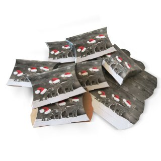 Geschenkschachtel für Weihnachten in 15 x 10,3 x 3 cm rot weiß grau mit Rentier Motiv - zum Befüllen und Verpacken