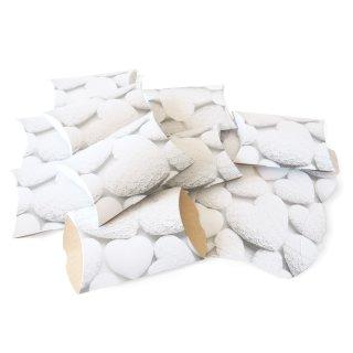 Flache Schachtel in 15 x 10,3 x 3 cm grau mit weißen Herzen - für Hochzeit Muttertag