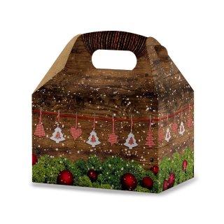Weihnachten Geschenbox mit Henkel in Holzoptik - 12,5 x 18,5 x 12 cm - braun grün rot