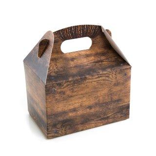 Geschenkschachtel mit Henkel in dunkelbraun Holzoptik- 12,5 x 18,5 x 12 cm - zum Verpacken & Befüllen