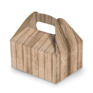 Lunchbox mit Henkel in Holzoptik - 9 x 12 x 6 cm - hellbraun natur an Taufe Hochzeit