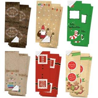 Weihnachtsaufkleber Set - 6 x 10 weihnachtliche Aufkleber mit und ohne Text 5 x 14,8 cm
