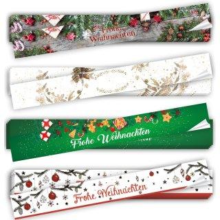 Aufkleber Set 4 x 10 lange XXL Weihnachtsaufkleber FROHE WEIHNACHTEN 5 x 42 cm
