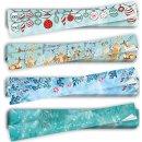 XXL Weihnachtsaufkleber Set - 4 x 10 weihnachtliche Geschenkaufkleber 5 x 42 cm blau türkis für Schachteln