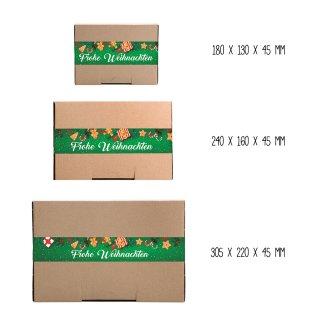 Braune Geschenkschachteln mit länglichen Aufklebern FROHE WEIHNACHTEN bunt grün - verschiedene Kartongrößen