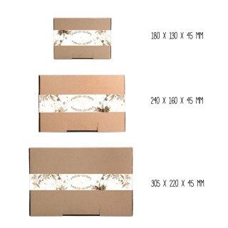 Braune Kraftpapierschachteln + weihnachtliche XXL Aufkleber beschreibbar braun gold weiß - verschiedene Größen