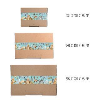 Geschenkboxen braun + große Weihnachtsaufkleber in blau braun Hygge-Stil - verschiedene Größen