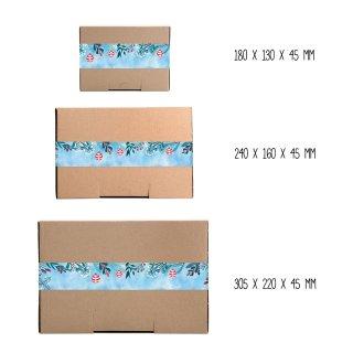 Maxibriefschachteln braun in verschiedenen Größen + blau rote weihnachtliche XXL Aufkleber