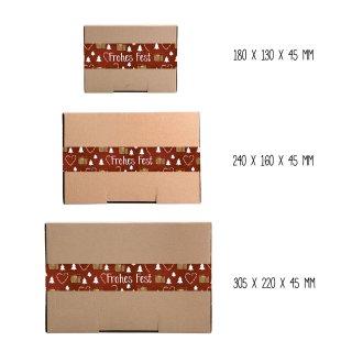 Kraftpapierschachteln verschiedener Größen braun & weihnachtliche FROHES FEST XXL Aufkleber rot weiß braun