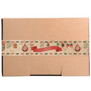 Braune Maxibriefkartons & lange Aufkleber für Weihnachten natur rot grün vintage- verschiedene Kartongrößen