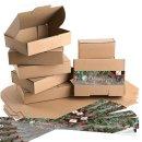 Geschenkschachteln in braun + FROHE WEIHNACHTEN Aufkleber...