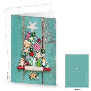 Weihnachtskarten DIN A6 hoch Klappkarten türkis grün mit buntem Weihnachtsbaum & Briefumschläge