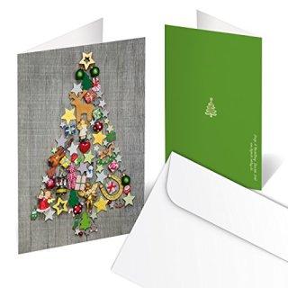 Weihnachtskarten DIN A6 hoch Klappkarten grau mit buntem Weihnachtsbaum rot grün & Umschläge