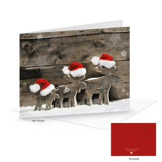 Kuverts + Weihnachtskarten DIN A6 quer Klappkarten Holz-Optik mit Rentier-Motiv rot weiß