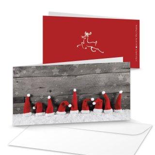 Umschläge + Weihnachtskarten DIN lang Klappkarten Holz-Optik mit Zipfelmützen-Motiv rot weiß