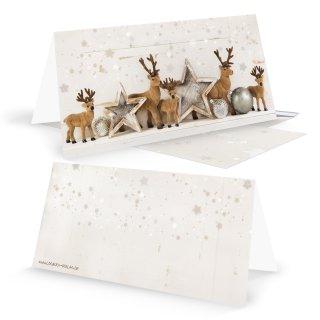 Umschläge & Weihnachtskarten DIN lang Klappkarten beige braun gold mit Hirsch-Motiv Shabby Chic